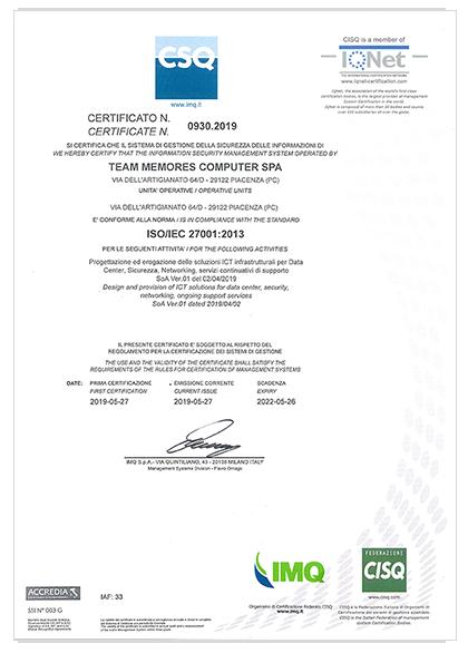 certificato iso 27001